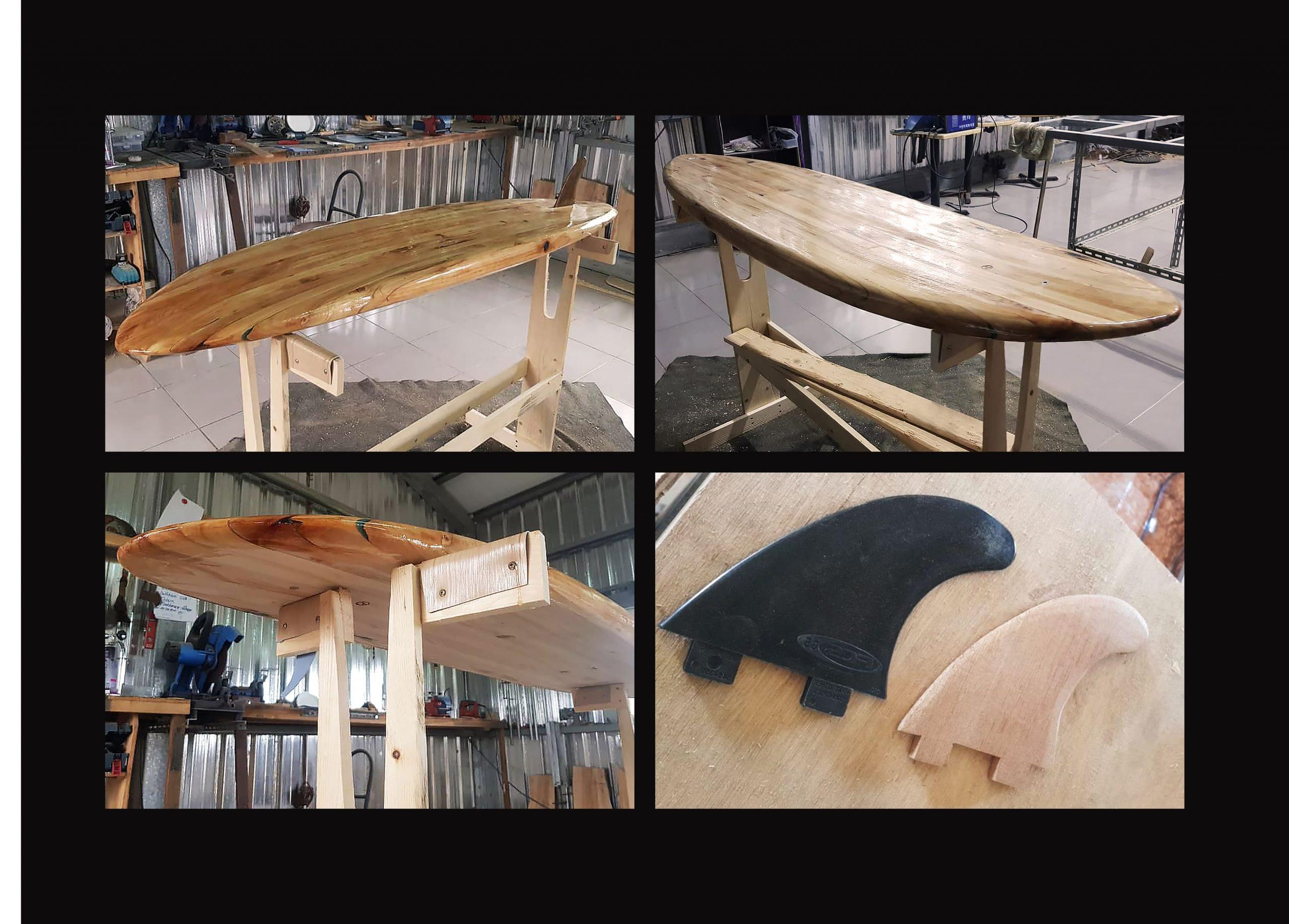 FabsFurniture Taiwan Portfolio - 2021 - wooden surfboard and fins