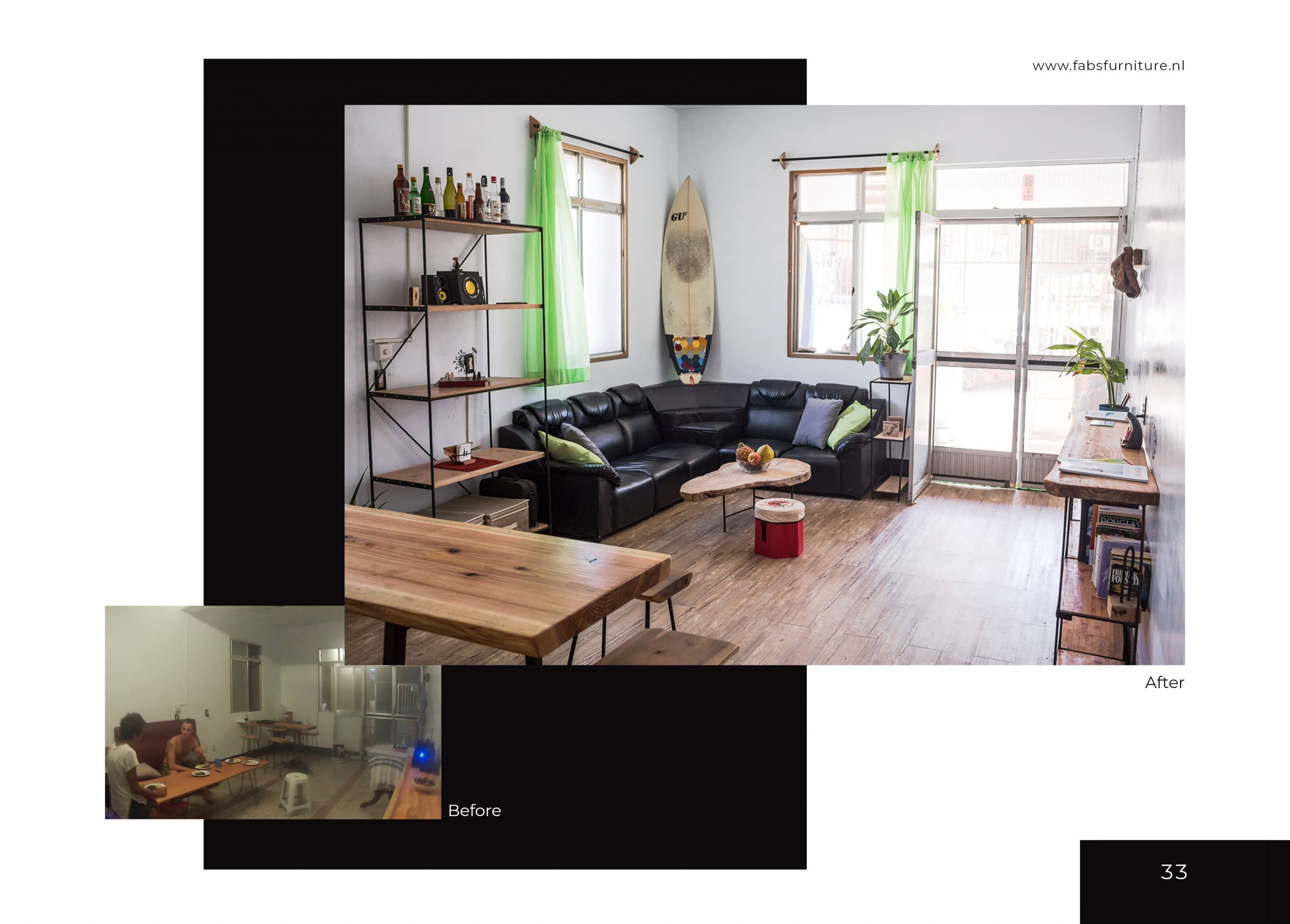 FabsFurniture Taiwan Portfolio - 2021 - renovation - surf house Taiwan - livingroom
