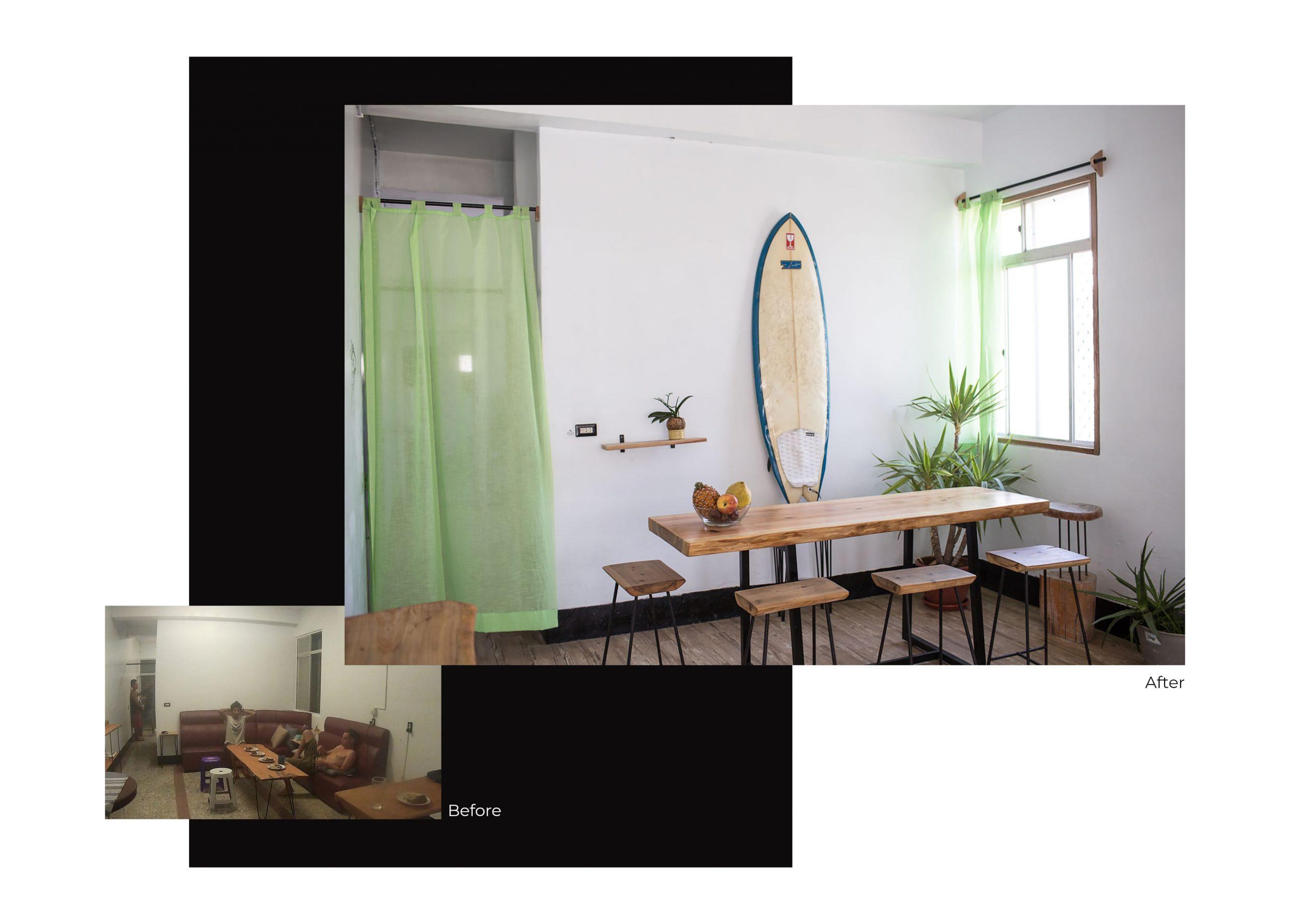 FabsFurniture Taiwan Portfolio - 2021 - renovation - surf house Taiwan - dining room